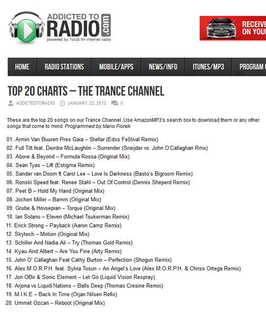 The Thomas Gold Remix Of Schiller And Nadia Ali's Try Is Number 13 On The Addicted To Radio Trance Chart