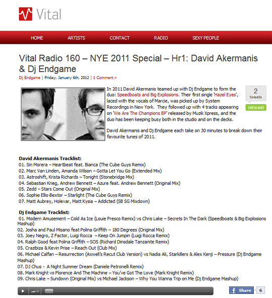 David Akermanis And DJ Endgame Feature Marc van Linden's Gotta Let You Go In Vital Radio's Episode 160