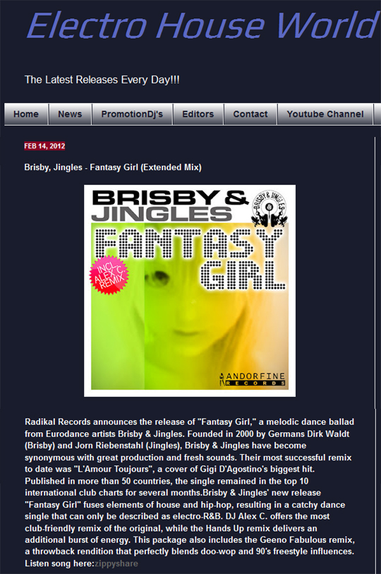 Electro House World Features Fantasy Girl From Brisby And Jingles
