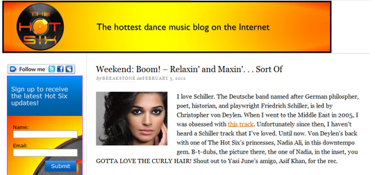 The Hot Six Reviews Schiller And Nadia Ali's Try