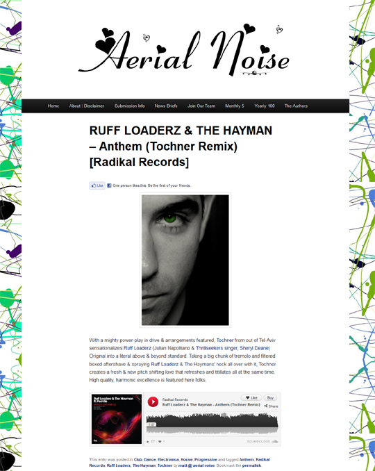Aerial Noise Features The Tochner Remix Of The New Single Anthem From Ruff Loaderz & The Hayman