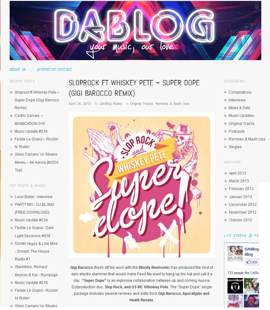 "Da Blog Features Slop Rock's ""Super Dope"""