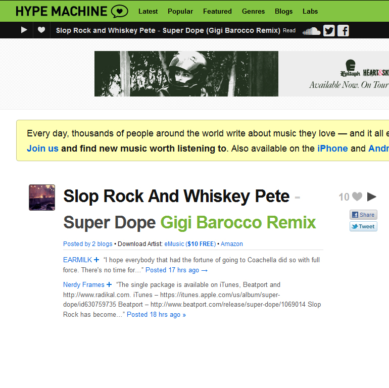 "Slop Rock's ""Super Dope"" Sees Some Action On Hype Machine"