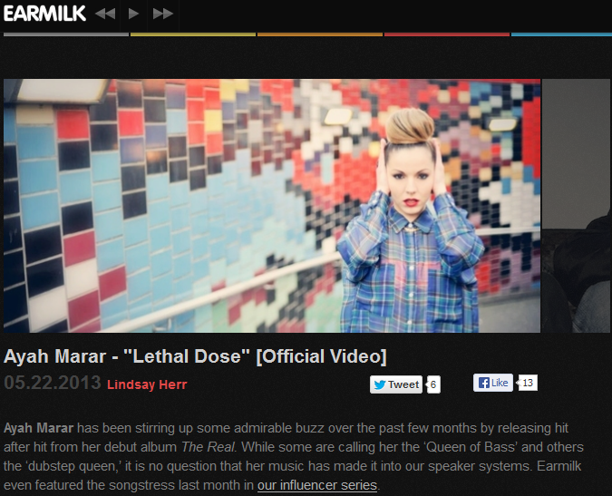 "Ayah Marar's ""Lethal Dose"" Featured On Earmilk"