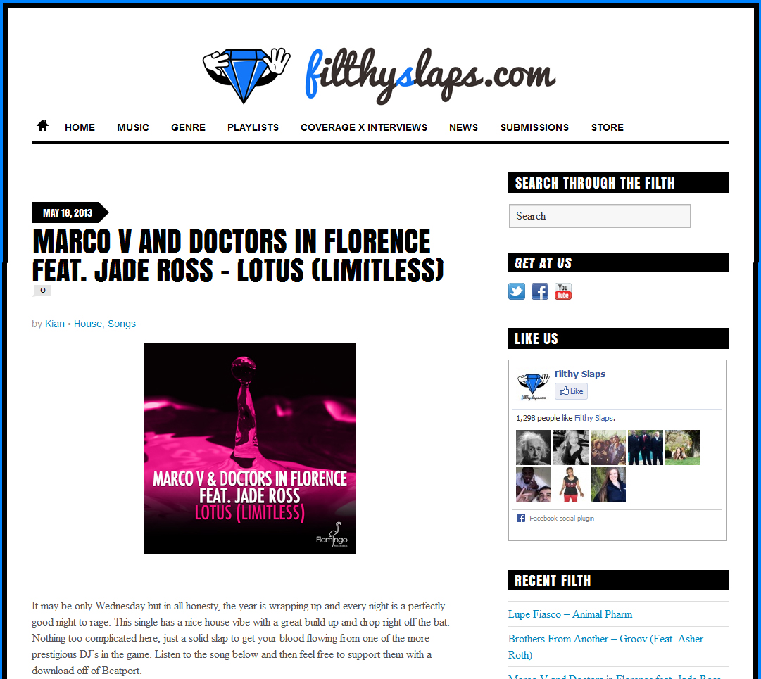 "Marco V & Doctors In Florence's ""Lotus (Limitless)"" Featured On Filthy Slaps"