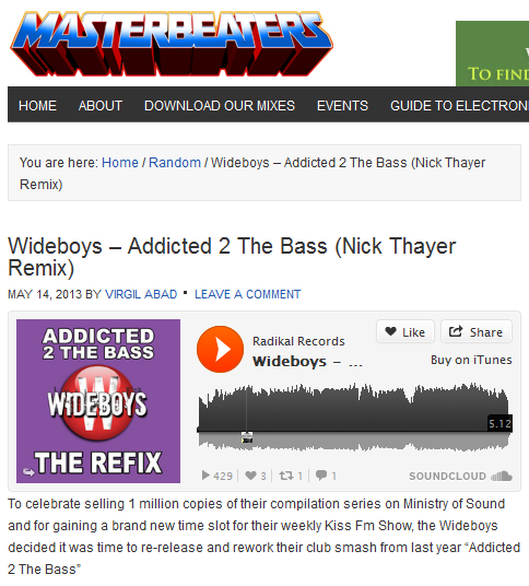 "Masterbeaters Features Wideboys' ""Addicted 2 The Bass"""
