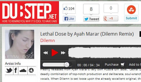 "Dubstep.net Feature Dilemn's Remix of Ayah Marar's ""Lethal Dose"""
