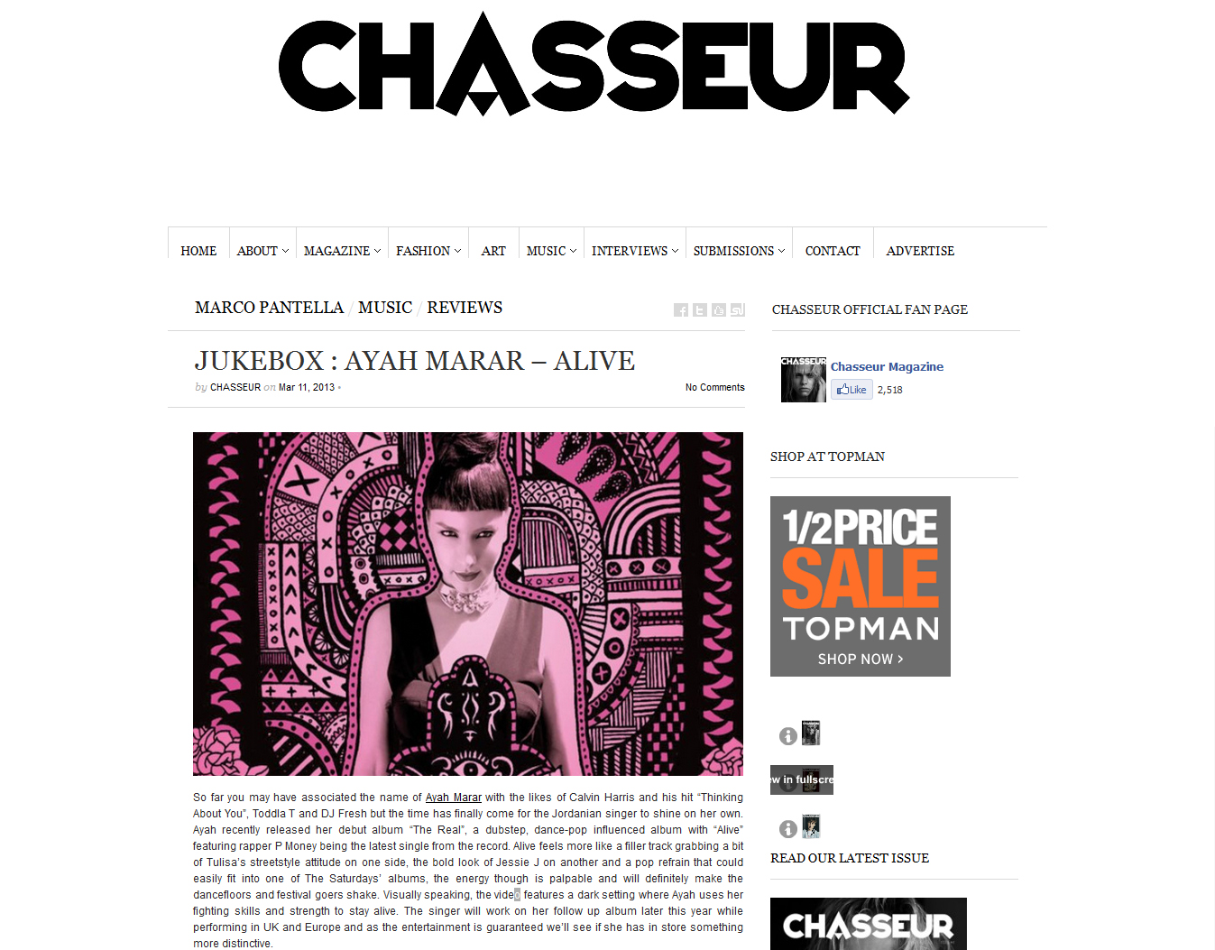 "Ayah Marar's ""The Real"" Featured On Chasseur Magazine"