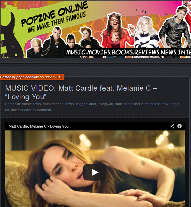 "Popzine Online Features ""Loving You"" Video"