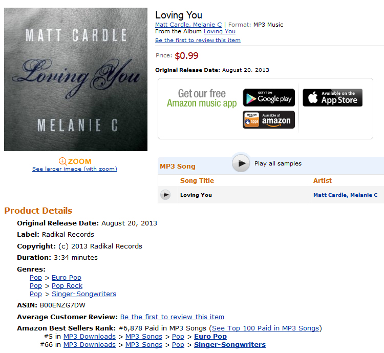 mel c matt cardle amazon