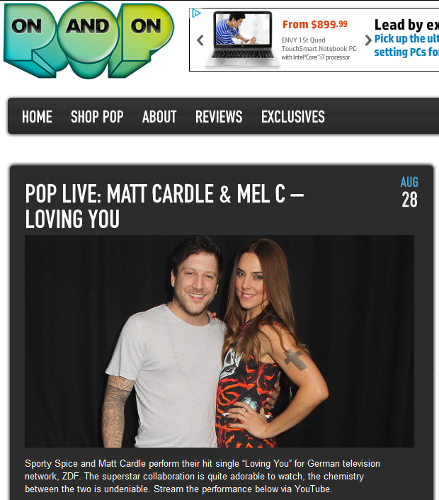 "Matt Cardle & Melanie C's ""Loving You"" Featured On Pop On And On"