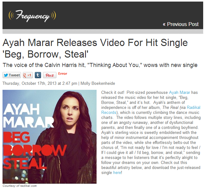 "Joonbug Features Ayah Marar's ""Beg Borrow Steal"" Video"