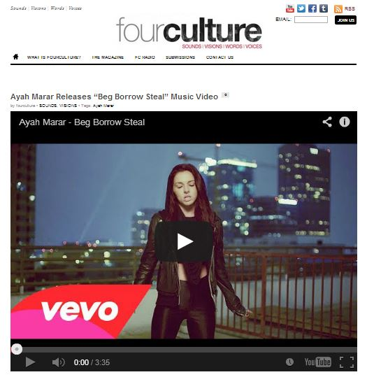 "Fourculture Features Ayah Marar's ""Beg Borrow Steal"" Video"