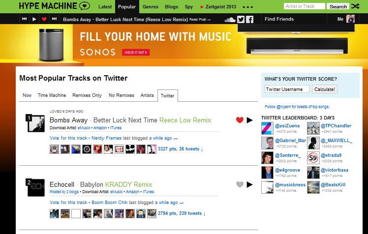 "Reece Low's Remix Of Bombs Away's ""Better Luck Next Time"" #1 On Hypem"