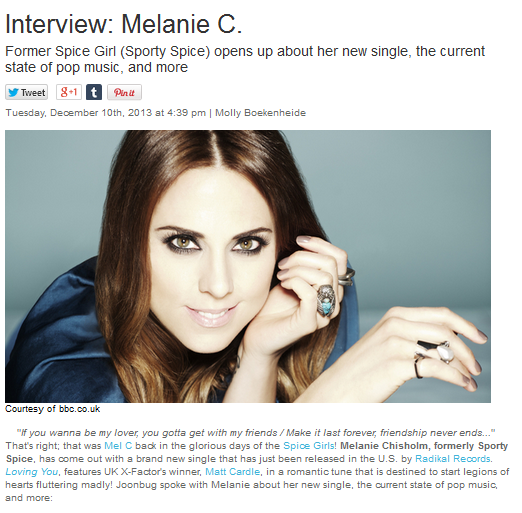 "Melanie C Sits Down With Joonbug To Discuss Her Latest Single ""Loving You"""
