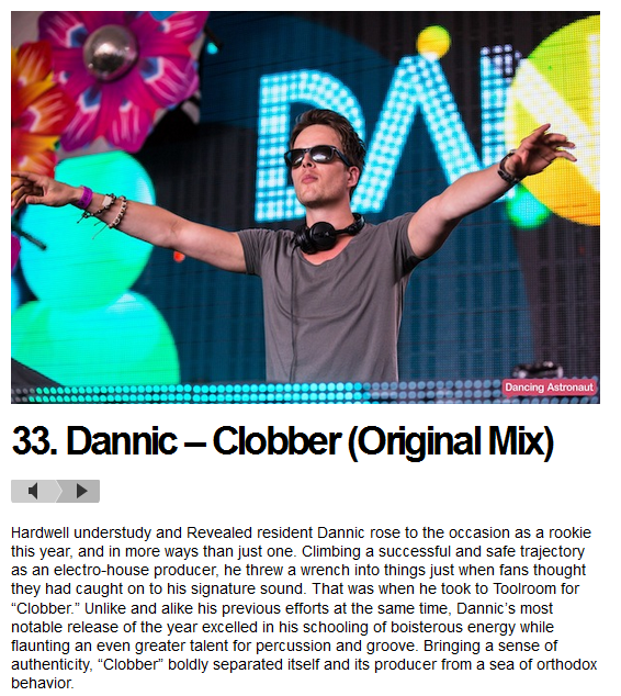 "Dannic's ""Clobber"" #33 on Dancing Astronaut's 50 Biggest Tracks of 2013"