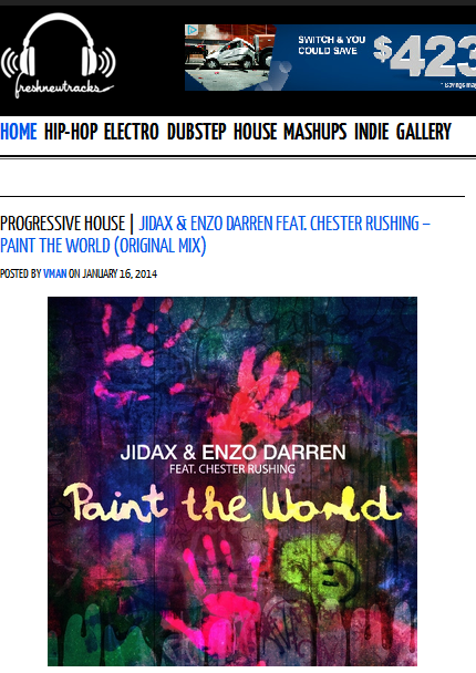 "Jidax & Enzo Darren ft. Chester Rushing ""Paint The World"" on FreshNewTracks.com"
