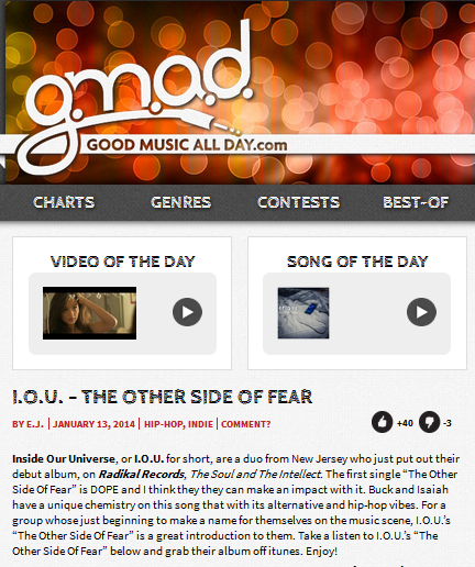"I.O.U.'s ""The Other Side Of Fear"" on GoodMusicAllDay.com"