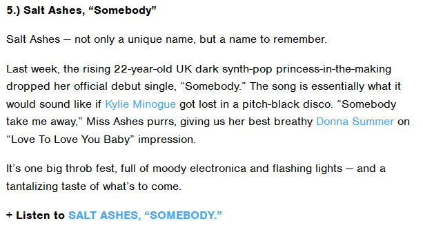 Salt Ashes Featured on MTV Buzzworthy' 5 Must-Hear Pop Songs Of The Week