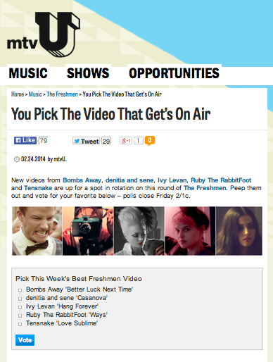 "Vote For ""Better Luck Next Time"" on MTVU's The Freshmen"
