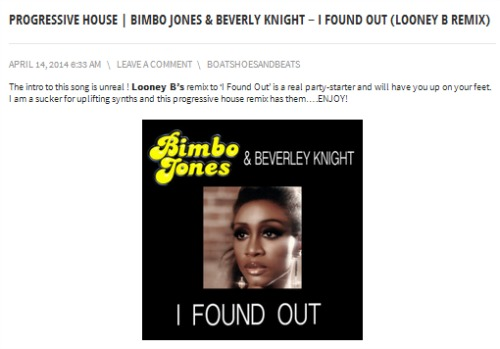 "Bimbo Jones & Beverly Knight's ""I Found Out (Looney B Remix)"" on Boat Shoes and Beats"