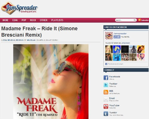 "Madame Freak's ""Ride It (Simone Bresciani Remix)"" Featured on JamSpreader.com"