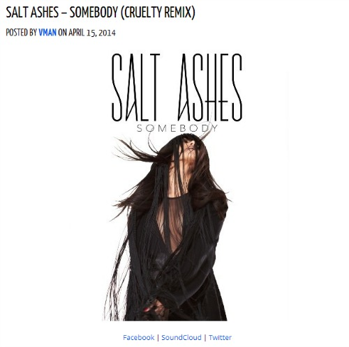 FreshNewTracks Salt Ashes Somebody Cruelty Remix