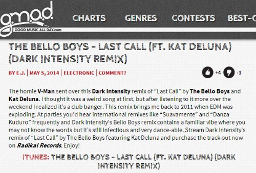 "The Bello Boys & Kat DeLuna's ""Last Call"" on GoodMusicAllDay.com"