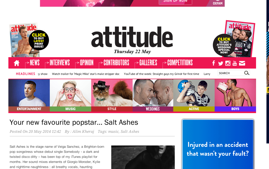 Salt Ashes Interviews With Attitude Magazine!