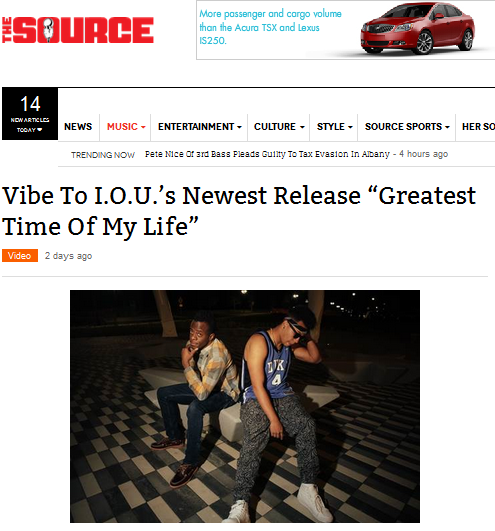 "TheSource Features I.O.U.'s ""Greatest Time Of My Life"""