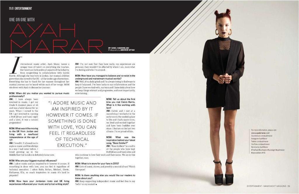 Miami Shoot Magazine's One on One Interview With Ayah Marar