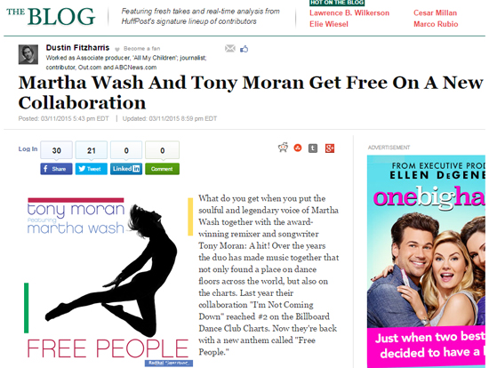 "The Huffington Post Features Tony Moran & Martha Wash for Their New Single, ""Free People"""