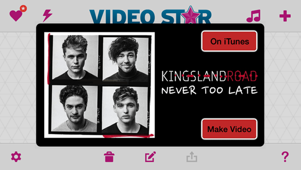 "Kingsland Road's ""Never Too Late"" Featured as Song of the Week on Video Star"