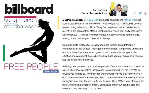 "Billboard Chart Beat Features DJ Tony Moran and Martha Wash's ""Free People"""