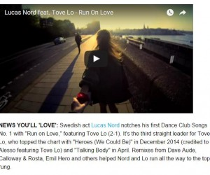 Lucas Nord's 'Run on Love (feat. Tove Lo)' Featured on Billboard's Chart Beat