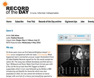 Salt Ashes'  'Save It' Featured on 'Record of the Day'