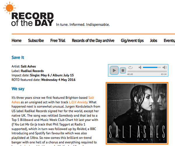 record of the day salt ashes