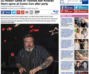 Daily Mail Covers Kristian Nairn's 'Rave of Thrones' at San Diego Comic Con