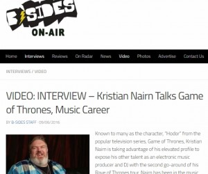 Watch DJ Kristian Nairn's Exclusive Interview With B-Sides On-Air