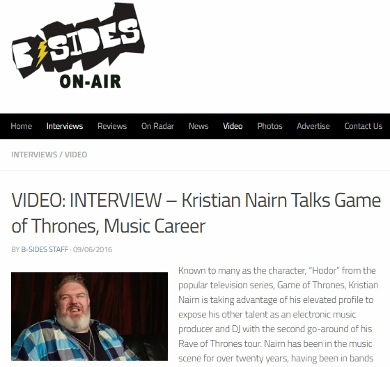 Kristian Nairn B-SIDES ON-AIR