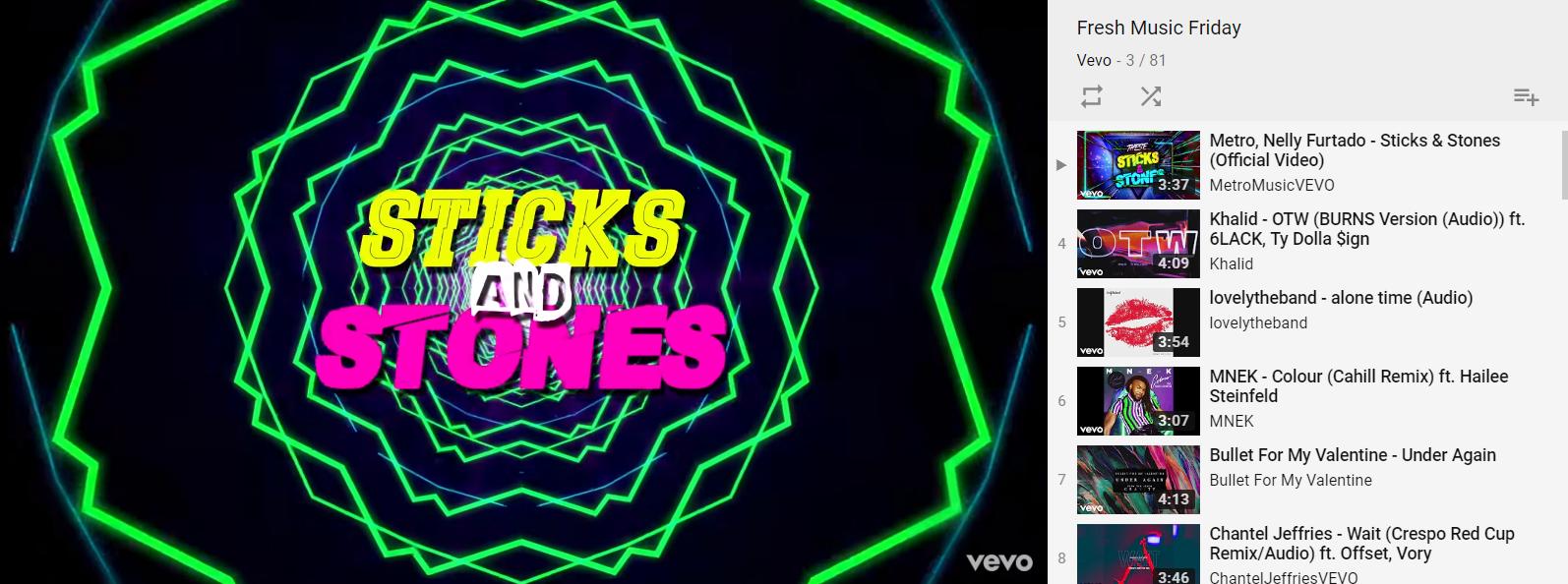 vevo fresh music friday sticks and stones lyric video