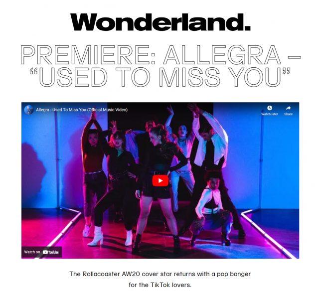 Allegra - Used To Miss You - Wonderland Music Video Premiere